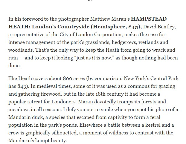 Hampstead Heath, London's Countryside reviewed in the New York Times